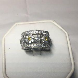 platinum  eternity yellow white diamonds band
